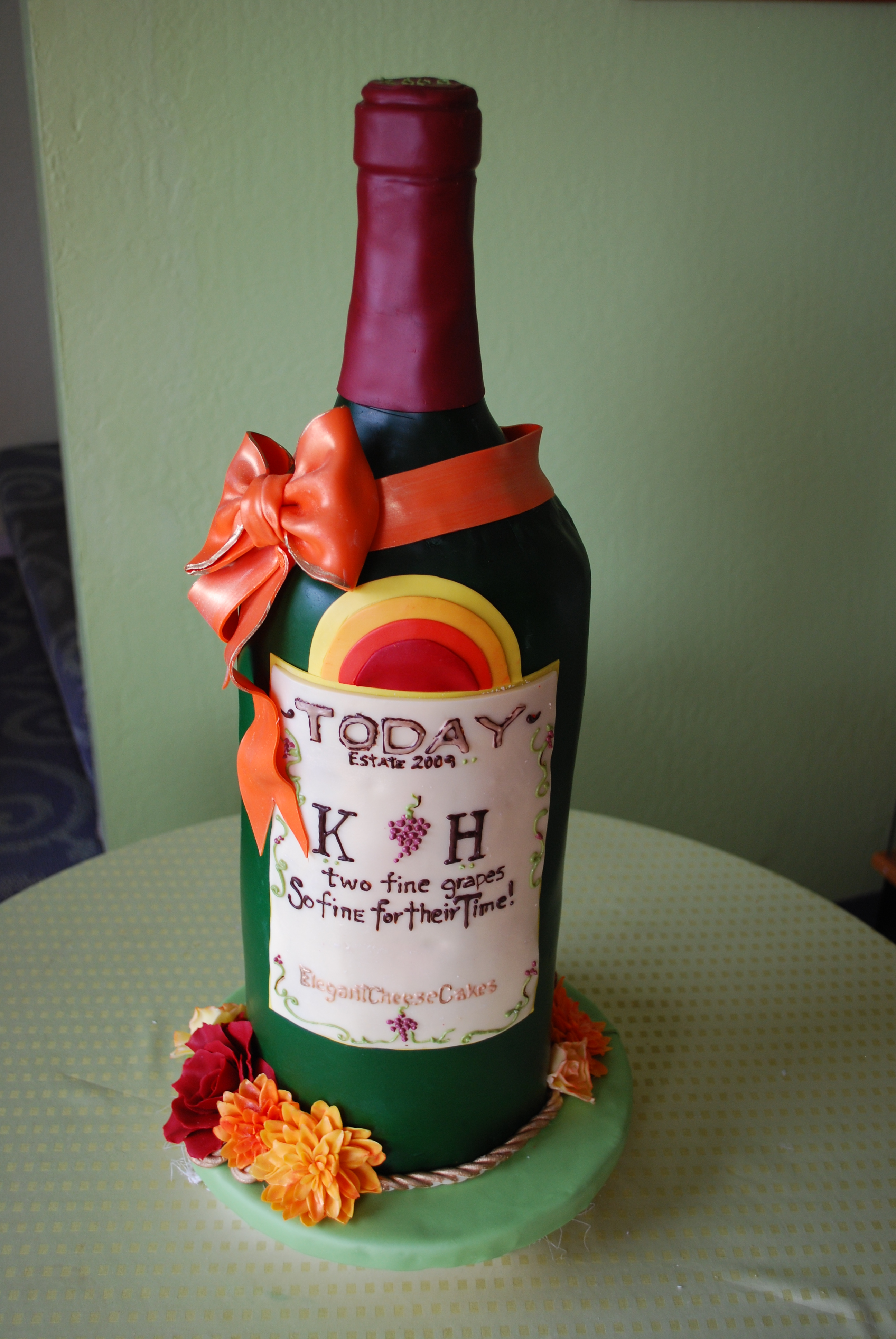 wine bottle cake for 2 special gals